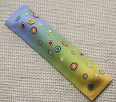Colorful Mezuzah case in yellow green and blue by PolyAndClayed, $30.00