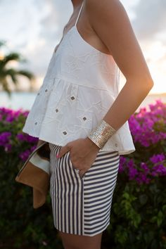 Striped Shorts - Gal Meets Glam