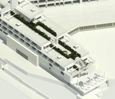 Planos arquitectónicos en 3D de la reforma de 3 a 5 estrellas del hotel Presidente de Ibiza. #HotelesSaludables. Ibiza, 3d, Building, Travel, Hotels, Architecture, Blue Prints, Viajes