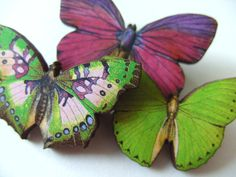 Set of three wooden butterfly brooches wood black by NewellsJewels, £8.00