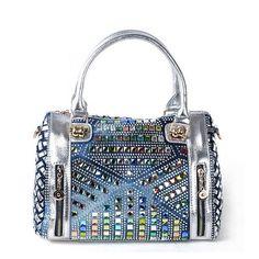 New Arrival 2016 Brand Bags Multi Colored Diamond Denim Messenger Bag Lady Knit Bag Leather Women Handbags