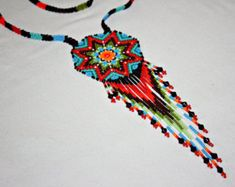 Seed Bead Necklace, Native Amerian Beadwork, Huichol Necklace, Mexican Seed Bead Jewelry, Southwestern Medallion, Hippie Necklace, Authentic