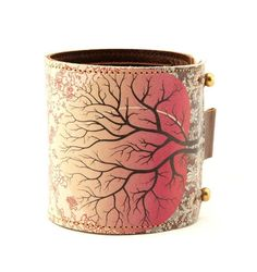 Leather cuff / wallet wristband  Peach tree by tovicorrie on Etsy, $36.00
