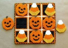 Tic-Tac-Toe Game Halloween Treats by gailscrafts on Etsy Tent Stitch, Peler Beads, 4 Ply Yarn, Cotton Polyester Fabric, Tic Tac Toe Game, Plastic Canvas Crafts, Free Plastic Canvas Patterns, Canvas Designs, Halloween Crafts