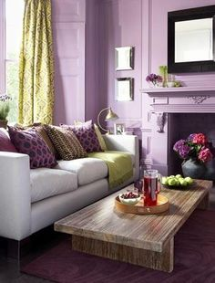 purple living room.  Lovely combination of green and purple.