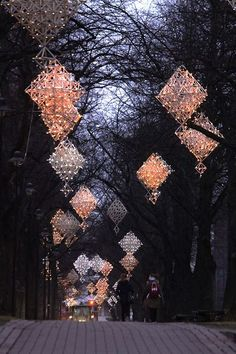Giant himmeli ornaments, light up with tiny lights, line the streets in winter // Kotka, Finland