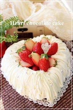 Wチョコのオープンハートケーキ(cookpad)