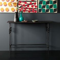 So chic! NEW Papier Mache Console Table + Collage Wall Art #handcrafted #madeinhaiti #westelm #design #linkinprofile