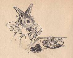 Illustration by Beatrix Potter Beatrix Potter Illustrations, Beatrice Potter, Peter Rabbit And Friends, Arte Sketchbook, Rabbit Art, Vintage Children's Books, Book Illustration, Illustrators, Cool Art