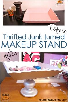 Thrifted junk turned into a MAKEUP stand! Perfect for teens! - House of Hepworth. - Thrifted junk turned into a MAKEUP stand! Perfect for teens! – House of Hepworth… - Diy Crafts For Tweens, Diy For Kids, Fun Crafts, Diy Makeup Stand, Thrift Store Crafts, Thrift Stores, Halloween, Decorating Your Home, Creative