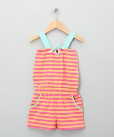 Take a look at this Bright Pink & Yellow Stripe Organic Romper - Toddler & Kids by Kite Kids on #zulily today!