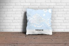 Map Throw Pillow of Venice Italy - Modern Ski Map - Venice Map Art
