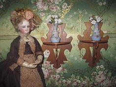 UNIQUE Pair of Antique Victorian Miniature Carved Walnut Shelves! #dollshopsunited