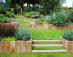 landscape steps on a slope ; landscape steps on a hill ; landscape steps on a hill sloped yard ;