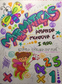 Resultado de imagen para portada para mi cuaderno de matematica Diy And Crafts, Crafts For Kids, Notebook Art, Notebook Doodles, Art Drawings For Kids, Decorate Notebook, Border Design, Book Journal, Cover Pages