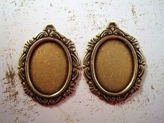 25x18mm Oxidized Brass Plated Victorian Settings With Ring (2) - BOS5412