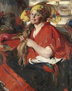 Abram Efimovich Arkhipov, Peasant Woman in Red Shawl, c.1925