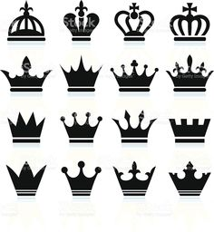 Simple Crowns black and white royalty free vector icon set royalty-free stock vector art