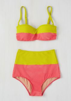 Every sunbathing activity is a winner when you're sporting this colorblock swim top! A ModCloth exclusive with a supportive, bustier-style silhouette, this swimwear flaunts a dotted, textured fabric in chartreuse and hot pink hues that leave you aglow like the sunlit water. By the way, this lovely item will be available for purchase in January!