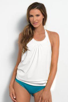 9f7990dc2d055 Ultra Soft White Blouson Tankini Top - Hapari International Tankini With  Shorts