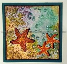 Designs By Ryn stamps.  Sea Creatures 2, Water Effects 1, Spirals & Leaves, Textures  Classes at www.rubberroomstamps.ca or The Rubber Room on Facebook