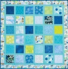Framed Charm Squares Baby Quilt.. Quilt size: 38 inches wide x 38 inches long... This free baby quilt pattern is an easy way to make baby boy quilts from a charm pack. Choose a charm pack of fun prints and then frame each square with aqua sashing to create the Framed Charm Squares Baby Quilt for the next baby boy in your life.