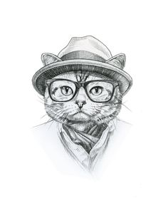 Hipster Cat Pencil Drawing by Annie Hagar annielanehayes on Etsy