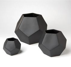 Faceted Vases-Black...would love this trio for the coffee table, or in an all white dining room.