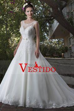 2017 Nueva Una línea de vestidos de boda del cuello del barco de tul con rebordear