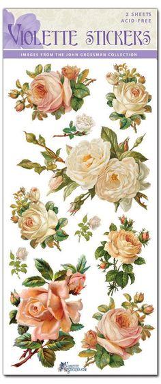 Güzel Vintage White Rose Etiketler için Crafting-2 yaprak