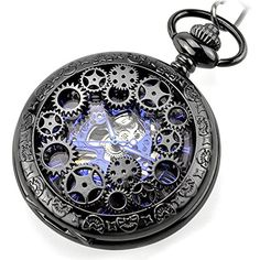 Steampunk Golden Gears Copper Case Skeleton Mechanical Pendant Pocket Watch with Chain/Gift Box Steampunk, Cool Watches, Watches For Men, Engraved Jewelry Box, Mechanical Pocket Watch, Skeleton Watches, Pocket Watch Antique, Chains For Men, Fashion Watches