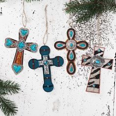 Western Cross Christmas Ornaments from Rods.com | Stylish Western Home Decorating