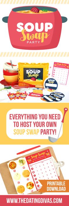 """Swap Party Ideas Printable to host your own """"Soup Swap""""- what a fun party idea for fall or winter!Printable to host your own """"Soup Swap""""- what a fun party idea for fall or winter! 21 Party, Swap Party, Party Time, Party Drinks, Party Snacks, Appetizers For Party, Adult Party Games, Birthday Party Games, Birthday Wishes"""