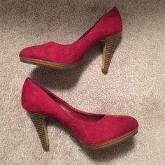 Faux Suede Heels Gorgeous red faux suede heels by Fioni. These are a 6 1/2 W, but are still not very wide. In like new condition as can be seen from the photos. Make me an offer :) FIONI Clothing Shoes Heels