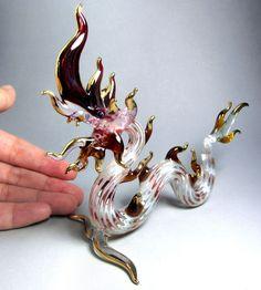 Maroon NAGA DRAGON handmade blown ART GLASS figurine Gild 4.5 Inches GIFT Myth