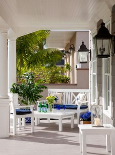 blue and white decor on the porch