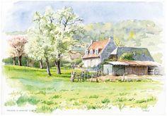 Gerard fally peintre jardinier aquarelle touristique paysages de Bretagne et Normandie ports bateau