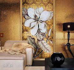 Glass mosaic wall design. http://www.sicis.com/