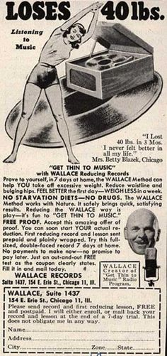 Wallace Record's Wallace Reducing Records – Loses 40lbs. Listening to Music (1950)