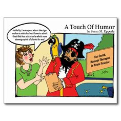 """A Touch of Humor"" Pirate Massage Comic http://www.zazzle.com/TigerLilyStudios?rf=238891780775066757"