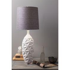 Glamorous Grey Linen White Ceramic Lamp - Overstock™ Shopping - Great Deals on Table Lamps