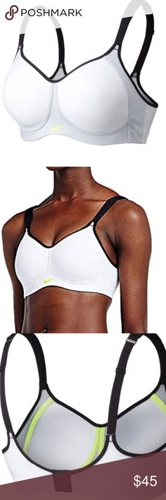 Nike Pro Hero High Support Sports Bra NWT, Elastic chest band provides superior comfort and an enhanced fit Mesh lining helps keep you cool in high-heat areas For high-impact sports like running, basketball and soccer Fabric: Dri-FIT 70% nylon/30% spandex Machine wash. Size 34D Nike Intimates & Sleepwear Bras