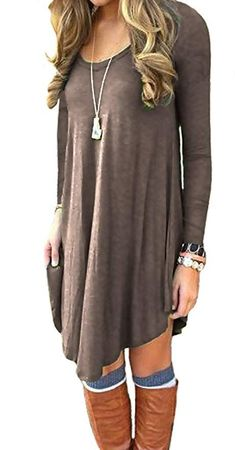 06ef28b918c436 Fall Fashion trends 2018!! Long sleeved casual loose fit t-shirt dress.