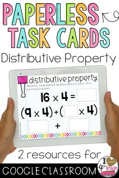 Distributive Property of Multiplication | 3rd Grade Math | Google Classroom | 3rd grade math centers | Do your students need additional support learning how to use the distributive property of multiplication?  This resource contains 2 sets of digital task cards to share with students on Google Classroom. ($)