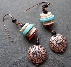 Apache   Turquoise Ostrich Eggshell and Copper by jeanawells