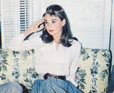 Audrey Hepburn photographed in her dressing room at the Paramount Studios (5555 Melrose Avenue, Hollywood) during an interview a...