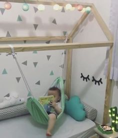 Toddler hammock over toddler mattress. LOVE this idea...daddy can you make?