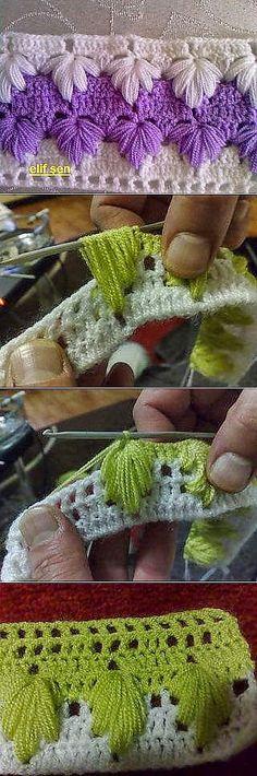 Paso a paso de bello punto al crochet   Crochet y Dos agujas