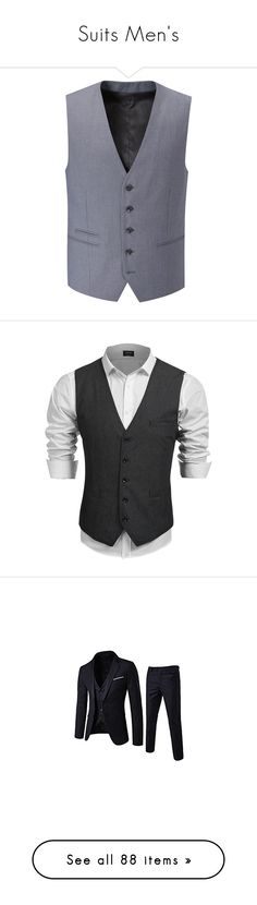 """Suits Men's"" by c-isabel1991 ❤ liked on Polyvore featuring men's fashion, men's clothing, men's outerwear, men's vests, mens waistcoat vest, mens sleeveless vest, mens waistcoats, mens slimming vest, mens vest and mens slim fit vest"