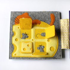 Quiet book about cheese and mouse image 4 Diy Quiet Books, Felt Quiet Books, Sewing Crafts, Sewing Projects, Quiet Book Templates, Sensory Book, Book Activities, Indoor Activities, Summer Activities